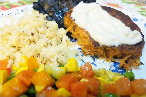 cauliflower_rice and sweetpotato_and_chickpea_burger